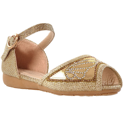 Kids Ballet Flats Peep Toe Buckle Strap Glitter Dress Sandals Gold