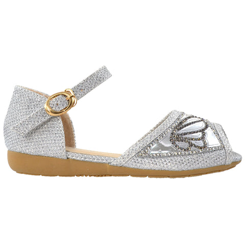 Kids Ballet Flats Peep Toe Buckle Strap Glitter Dress Sandals Silver