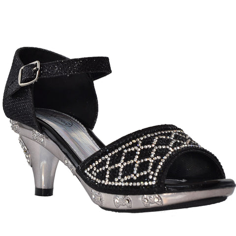 Kids Dress Sandals Open Toe Rhinestone Glitter Low Heel Sandals Black