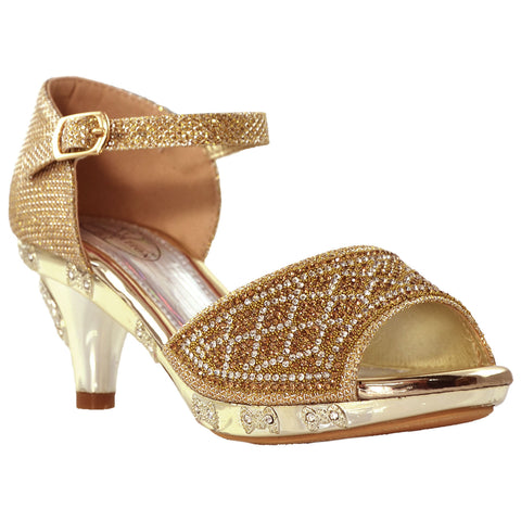 Kids Dress Sandals Open Toe Rhinestone Glitter Low Heel Sandals Gold