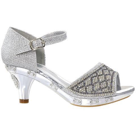 Kids Dress Sandals Open Toe Rhinestone Glitter Low Heel Sandals Silver