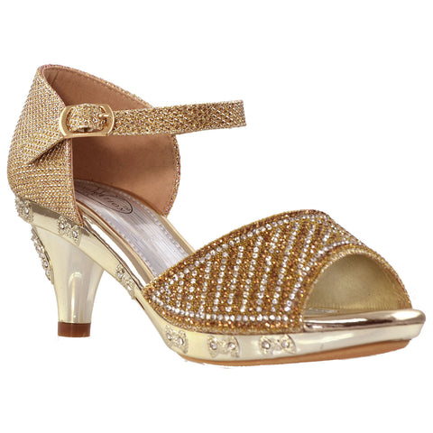 Kids Dress Sandals Open Toe Rhinestone Pageant Glitter High Heels Gold