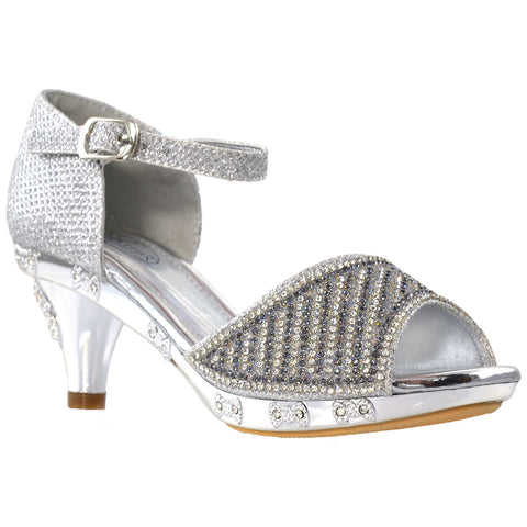 Kids Dress Sandals Open Toe Rhinestone Pageant Glitter High Heels Silver