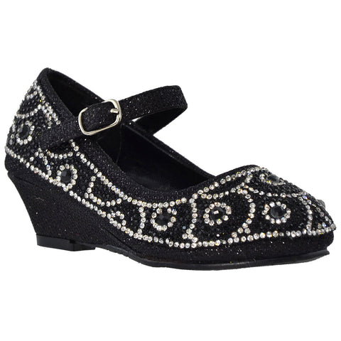 Kids Dress Shoes Ankle Strap Glitter Rhinestone Wedge Pumps Black