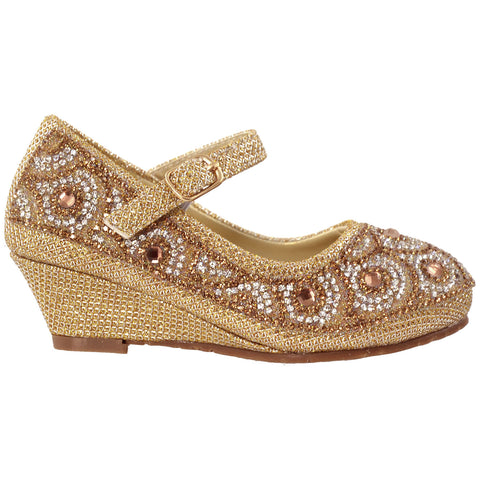 Kids Dress Shoes Ankle Strap Glitter Rhinestone Wedge Pumps Gold