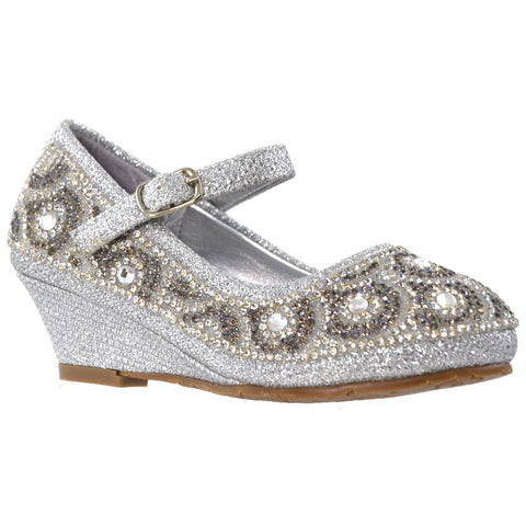 Kids Dress Shoes Ankle Strap Glitter Rhinestone Wedge Pumps Silver
