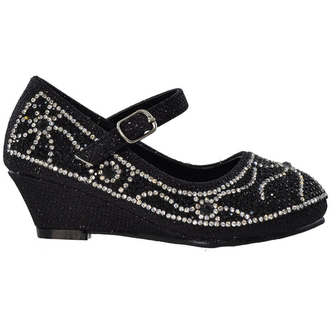 Kids Dress Shoes Ankle Strap Glitter Rhinestone Crystal Wedge Pumps Black