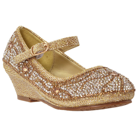 Kids Dress Shoes Ankle Strap Glitter Rhinestone Crystal Wedge Pumps Gold