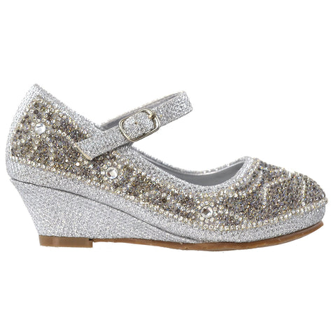 Kids Dress Shoes Ankle Strap Glitter Rhinestone Crystal Wedge Pumps Silver