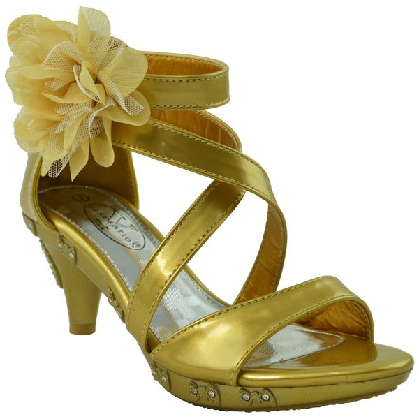 0b894bf6bccc Kids Dress Sandals Rhinestone Bow Accent Strappy Flower High Heel Gold