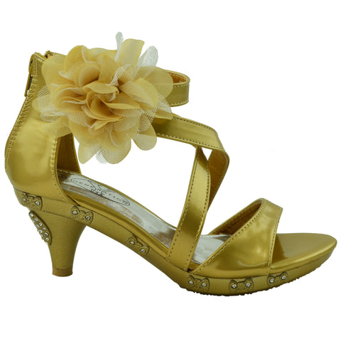 Kids Dress Sandals Rhinestone Bow Accent Strappy Flower High Heel Gold