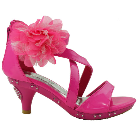 Kids Dress Sandals Rhinestone Bow Accent Strappy Flower High Heel Pink