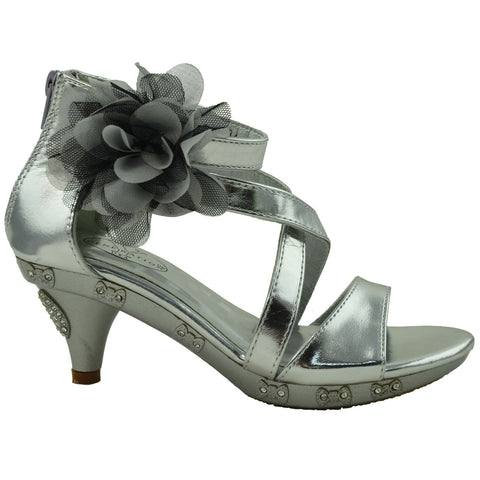 Kids Dress Sandals Rhinestone Bow Accent Strappy Flower High Heel Silver