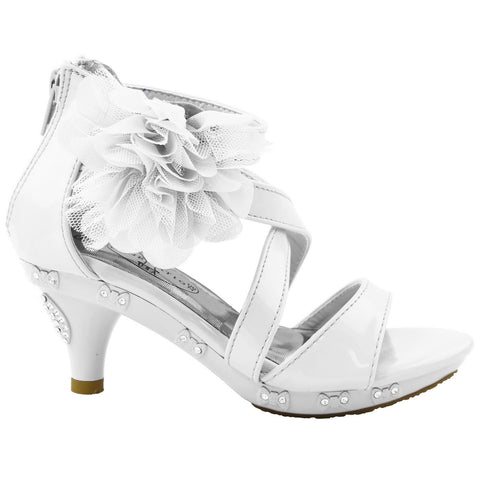Kids Dress Sandals Rhinestone Bow Accent Strappy Flower High Heel White