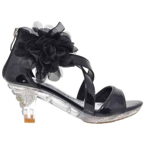 Kids Dress Sandals Strappy Rhinestone Flower Clear High Heel Shoes Black