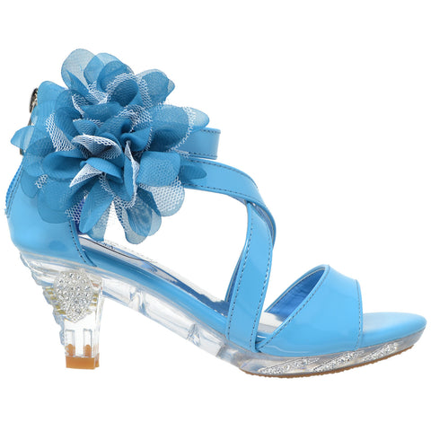 Kids Dress Sandals Strappy Rhinestone Flower Clear High Heel Shoes Blue