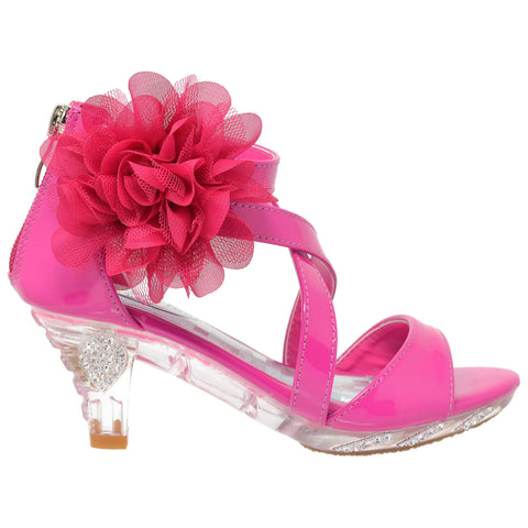 Kids Dress Sandals Strappy Rhinestone Flower Clear High Heel Shoes Fuchsia