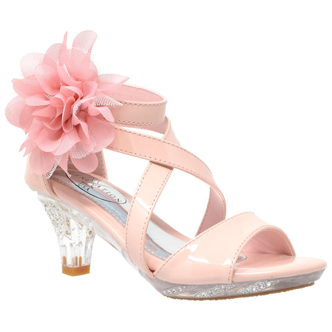 Kids Dress Sandals Strappy Rhinestone Flower Clear High Heel Shoes Pink