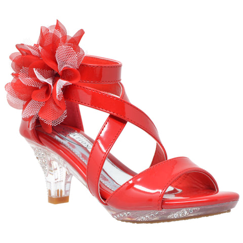 Kids Dress Sandals Strappy Rhinestone Flower Clear High Heel Shoes Red