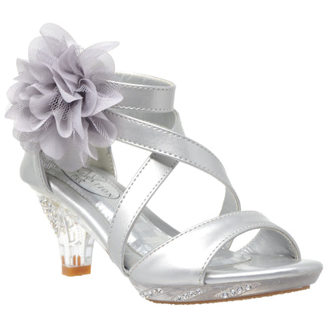 Kids Dress Sandals Strappy Rhinestone Flower Clear High Heel Shoes Silver