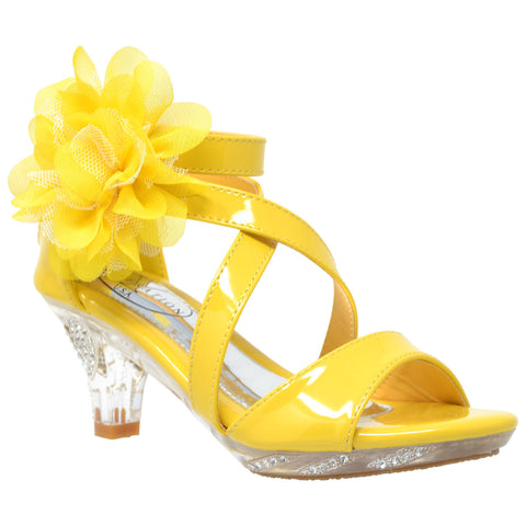 Kids Dress Sandals Strappy Rhinestone Flower Clear High Heel Shoes Yellow