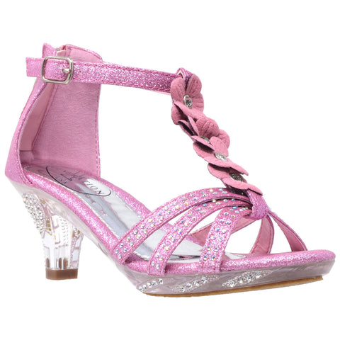 Kids Dress Sandals T-Strap Flower Glitter Rhinestone Clear High Heels Pink