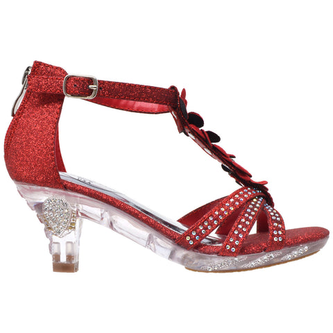 Kids Dress Sandals T-Strap Flower Glitter Rhinestone Clear High Heels Red