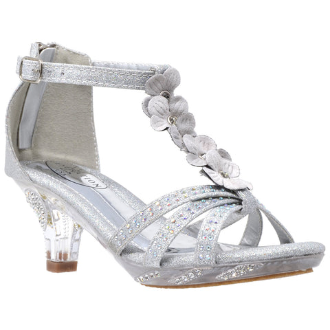 Kids Dress Sandals T-Strap Flower Glitter Rhinestone Clear High Heels Silver