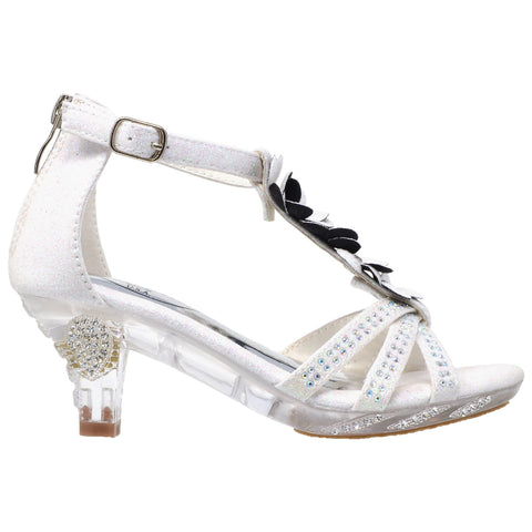 Kids Dress Sandals T-Strap Flower Glitter Rhinestone Clear High Heels White