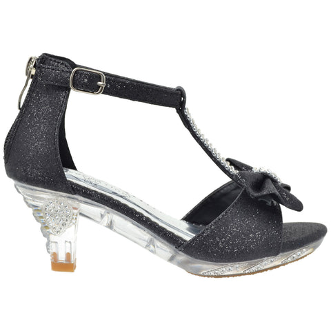 Kids Dress Sandals T-Strap Rhinestone Glitter Clear High Heel Shoes Black