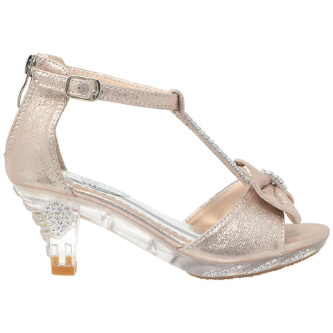 Kids Dress Sandals T-Strap Rhinestone Glitter Clear High Heel Shoes Champagne