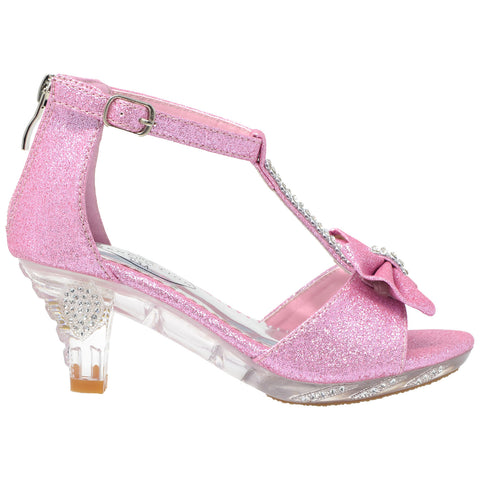 Kids Dress Sandals T-Strap Rhinestone Glitter Clear High Heel Shoes Pink