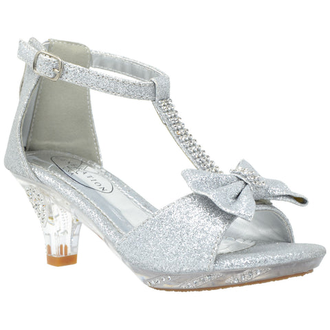 b128e443a2 Kids Dress Sandals T-Strap Rhinestone Glitter Clear High Heel Shoes Silver  ...