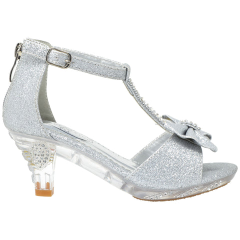 Kids Dress Sandals T-Strap Rhinestone Glitter Clear High Heel Shoes Silver