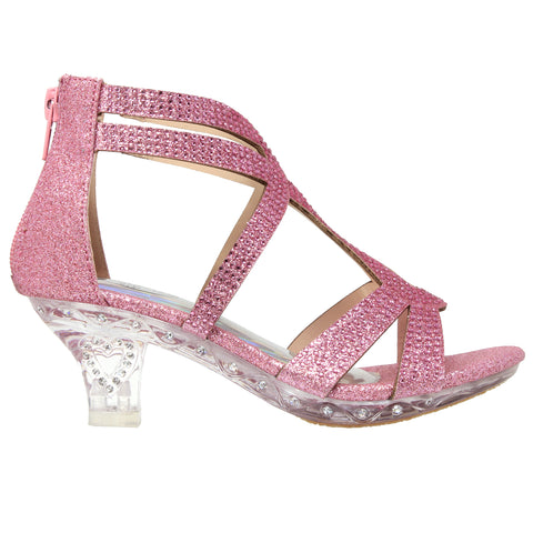 Toddler Youth Girls Rhinestone Glitter Caged Clear High Heel Kids