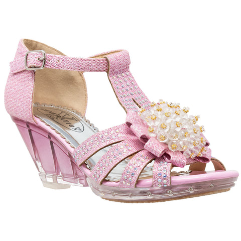 Toddler Youth Girls T-Strap  Rhinestone Beaded Clear Wedge Sandals Kids