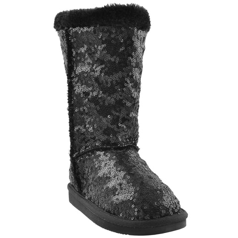 Kids Mid Calf Boots Sequin Pull On Winter Fur Inner Lining black