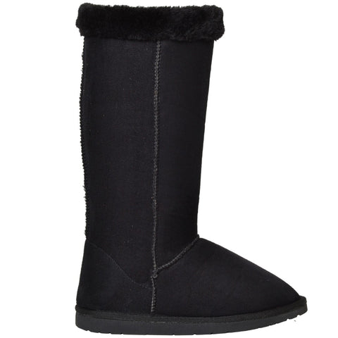 Womens Fur Cuff Mid Calf Boots Black