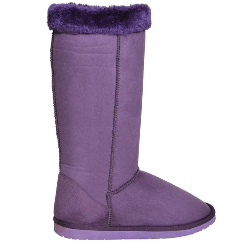 Womens Fur Cuff Mid Calf Boots Purple