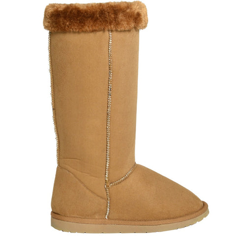 Womens Fur Cuff Mid Calf Boots Tan