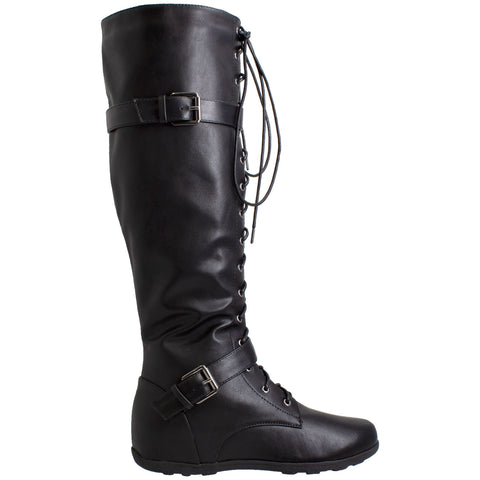 Women's Lace-Up Combat Knee High Boots