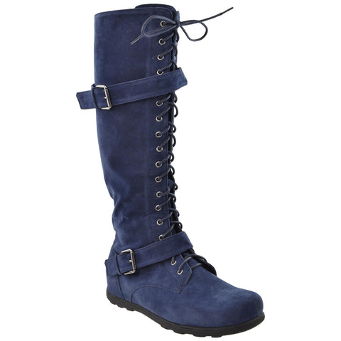 Womens Lace Up Knee High Boots Blue