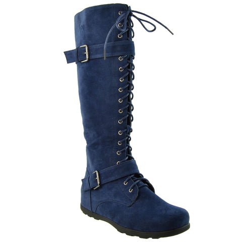 Womens Knee High Boots Lace Up Combat Buckle Straps Shoes GY-WB-213