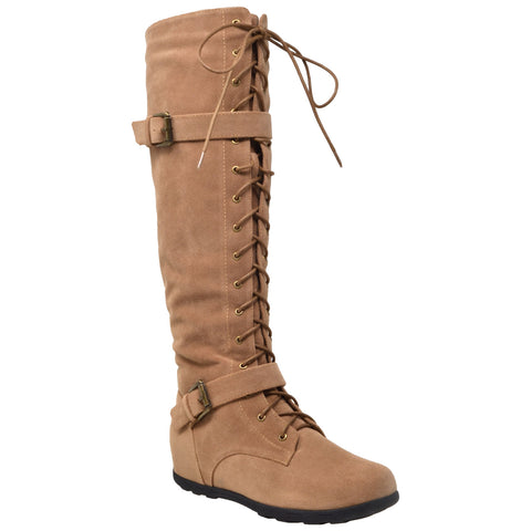 Womens Knee High Boots Lace Up Combat Buckle Strap Accent Shoes Camel