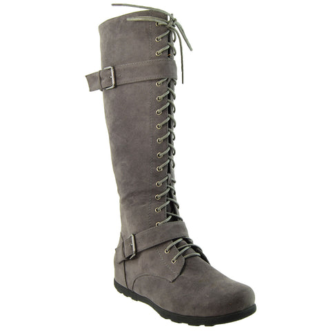 Womens Lace Up Knee High Boots Gray