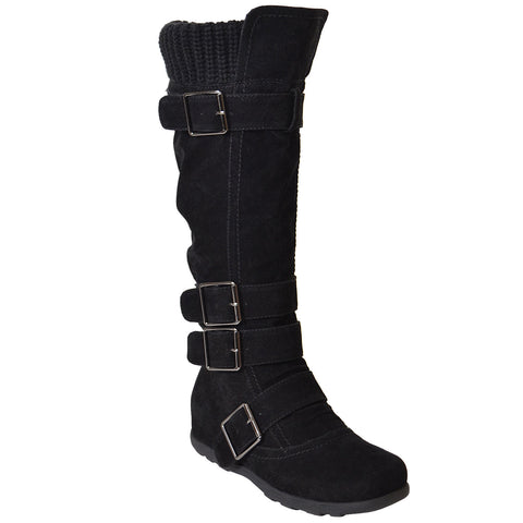 Womens Knee High Boots Ruched Suede Knitted Calf Buckles Rubber Sole black