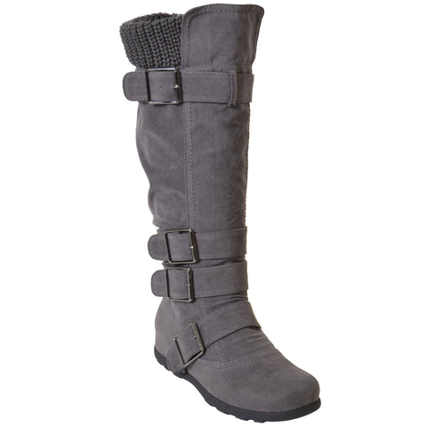 Womens Knee High Boots Ruched Suede Knitted Calf Buckles Rubber Sole Gray