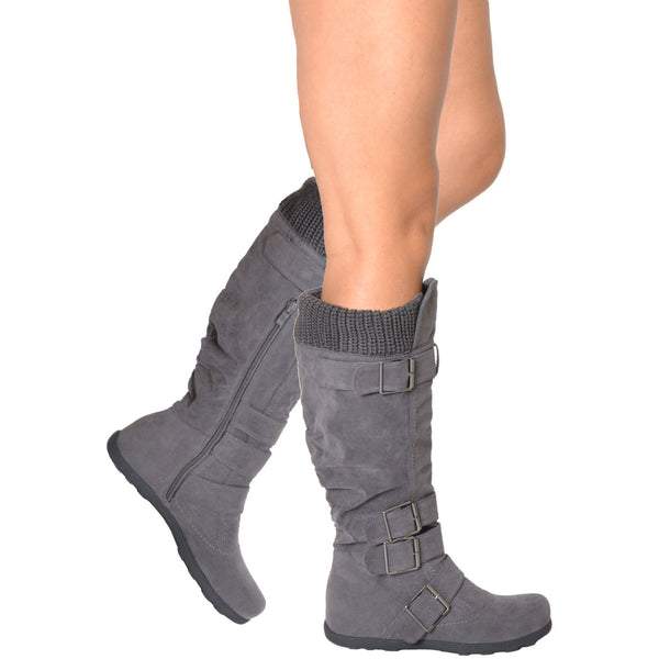 Womens Knee High Boots Ruched Suede Knitted Calf Buckles