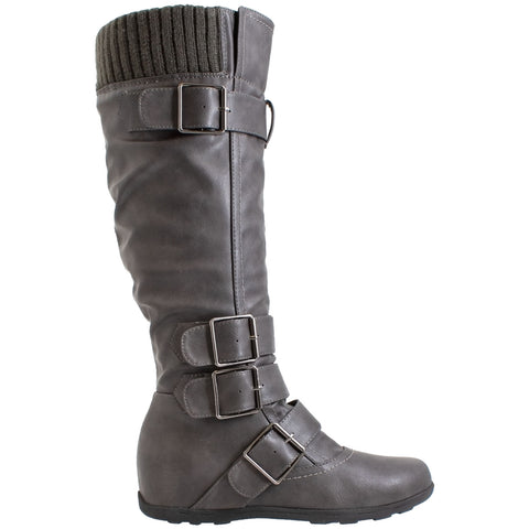 Women's Adjustable Buckle Straps Slouch Knee High Boots
