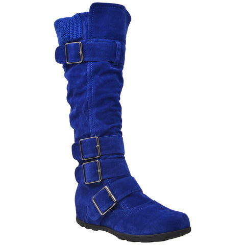 Womens Knee High Boots Ruched Suede Knitted Calf Strappy Buckles Accent Light Blue